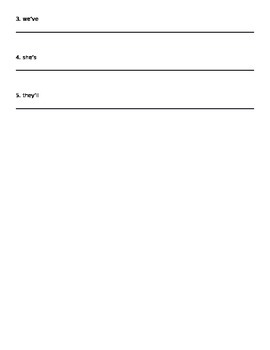 Contractions Quiz / Worksheet