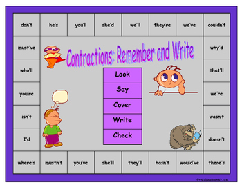 Contractions Remember and Write Board Game