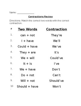 Contractions Review