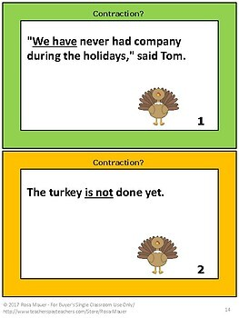 Contractions Review and Quiz Language Arts Thanksgiving Writing