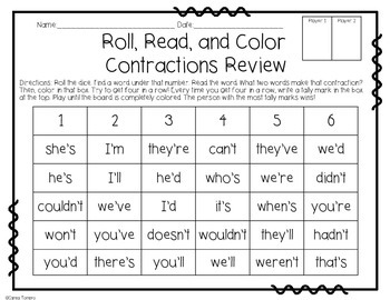 Contractions- Roll, Read, and Color