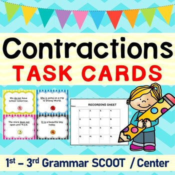Contractions Grammar SCOOT or Task Cards