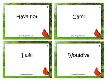 Contractions Scoot Activity/Task Cards