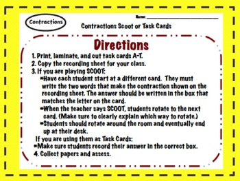 Contractions Scoot/Task Cards