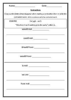 Contractions- Sentences