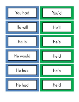Contractions - Small Word Cards
