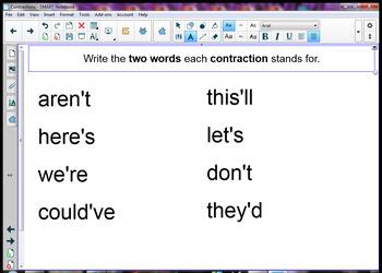 Contractions SmartBoard Lesson