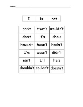 Contractions Sort - is, not, I