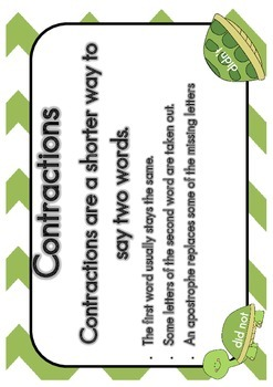 Contractions Sorting Game Grade 1 Turtle Theme