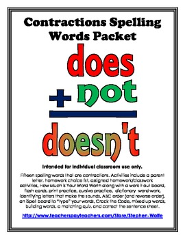 Contractions Spelling Basic Word Work Packet