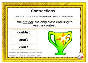 DIGITAL Contractions ... Spelling ... Vocabulary: Internet BOOM™ Cards