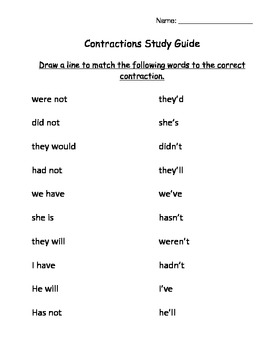 Contractions Study Guide and Quiz