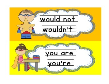Contractions / Super Hero / Bulletin Board / Word Work Station / Word Wall