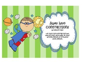 Contractions / Super Hero / Bulletin Board / Word Work Sta