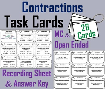 2nd 3rd 4th Grade Contractions Task Cards