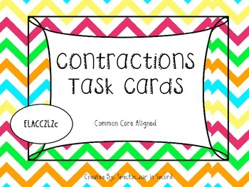 Contractions Task Cards - Common Core Aligned