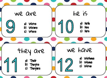 Contractions Task Cards/Scoot