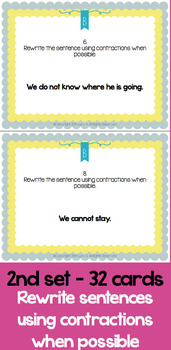 Contractions Task Cards Scoot - 64 task cards