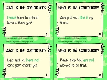 Contractions Task Cards - St. Patrick's Day Themed