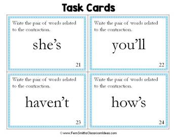 Contractions Task Cards - Write the Contraction's Two Words