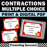 Contractions Task Cards, 2nd Grade Grammar Cut and Paste Worksheets