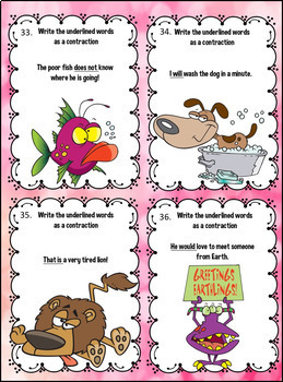 Contractions Task Cards and More