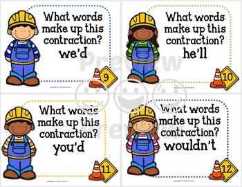 Contractions Task Cards and Puzzles Bundle