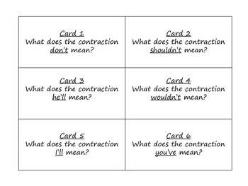 Contractions Task Cards for Journeys 3rd Grade