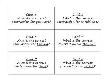 Contractions Task Cards for Journeys Grade 2