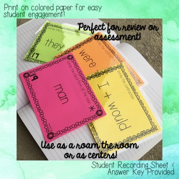 Contractions Task Cards - for Roam the Room or Centers!