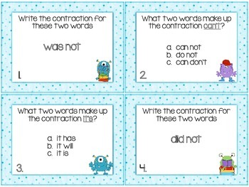 Contractions Task Cards or Scoot Game