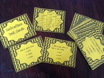 Contractions Task Cards set- READY TO USE!