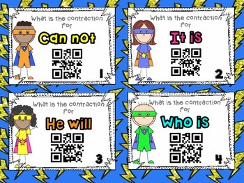 Contractions Task Cards w/QR codes