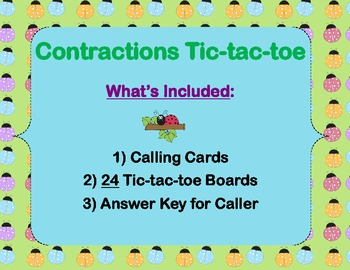 Contractions Tic-tac-toe (am, are, have, is, not, us, will, would)