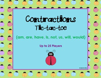Contractions Tic-tac-toe (am, are, have, is, not, us, will