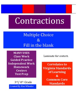 Contractions - Va SOL and Common Core - 3rd & 4th Grade
