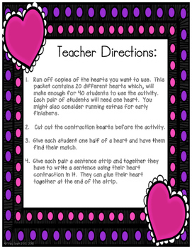 Contractions - Valentine Day Match Up