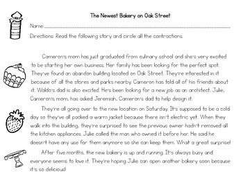Contractions Variety Packet - Bakery Theme
