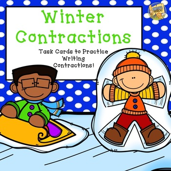 Contractions - Winter Themed - Writing Contractions Task Cards