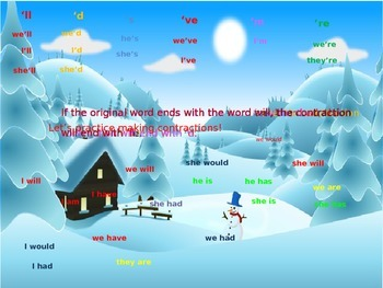 Contractions: Winter scene