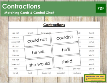Contractions - Word Cards (B/W)