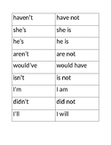 Contractions Word Cards/Game