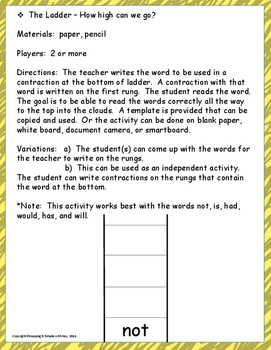 Contractions Word Lists