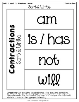 Contractions Word Study Packet: (Abraham Lincoln) Reading Street
