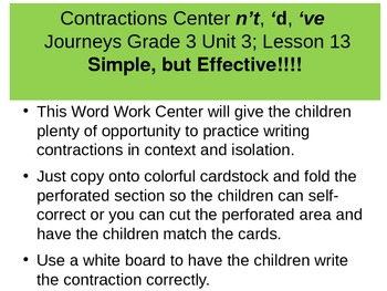 Contractions Word Work Center n't, 'd, 've THIS IS NOT a POWER POINT
