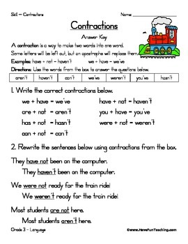 contractions worksheet by have fun teaching teachers pay