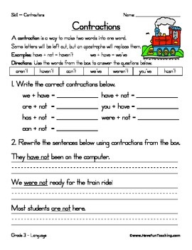 Contractions Worksheet Teaching Resources Teachers Pay Teachers