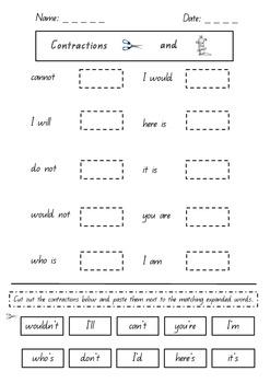 Contractions Worksheet - Queensland font