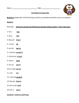 Contractions Worksheet, Test, or Homework with Answer Key