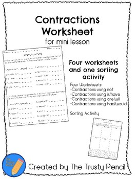 Contractions Worksheets - Mini Lesson, Independent Practice, Review